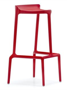 Stackable polypropylene #stool HAPPY by PEDRALI | #design Cristian Gori #red #colour