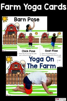 Farm yoga is perfect for kids yoga! I love how the yoga poses are related to the farm and there are real kids in the poses! Perfect for toddlers, preschool, and up! Preschool Yoga, Farm Animals Preschool, Preschool Lessons, Preschool Farm Theme, April Preschool, Farm Animal Crafts, Farm Crafts, Kindergarten Crafts, Health Education
