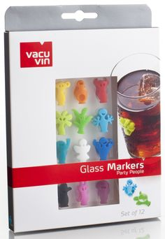 Amazon.com: Vacu Vin Glass Markers Party People - Set of 12: Wine Charms: Kitchen & Dining