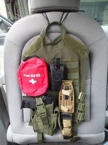 Maybe I could alter this idea to go on the side of or under the chair??? DIY Tactical Car Seat Back - Maybe Not Very Practical But Definitely Cool!