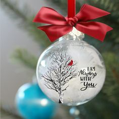"""I am always with you cardinal in birch - you cut 4 """"round ornament insert - no machine needed - please read the descriptionI am always with you cardinal in the birch tree you cut Clear Ornaments, Painted Christmas Ornaments, Easy Christmas Crafts, Christmas Balls, Christmas Projects, Cardinal Ornaments, Christmas Gift Ideas, Owl Ornament, Photo Ornaments"""