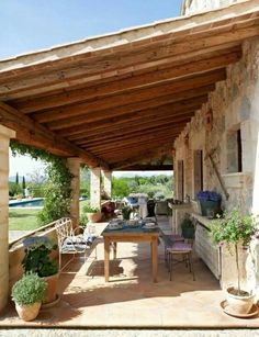 Patio Roof, Pergola Patio, Outdoor Rooms, Outdoor Living, Backyard Patio Designs, Village Houses, Stone Houses, Small House Plans, Cabin Homes