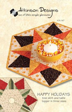 Sew. Happy Holidays Pattern, Tree Skirt & Tapble Topper in Three Sizes - Terry Atkinson Designs