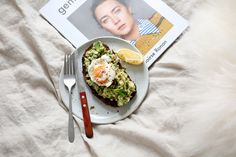 Avo, eggs, pea's & mint on toast. Breakfast IN BED via Samantha Hillman on the IN BED Journal