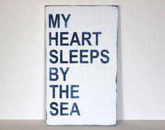 my heart sleeps by the sea, beach sign, beach decor, distressed wood sign, coastal decor, beach house,