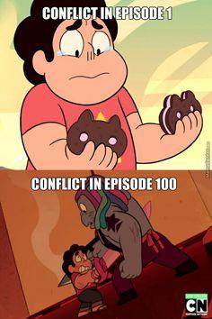 Conflict in episode 1 vs conflict in episode 100. #StevenUniverse #crystalgems #cookiecat