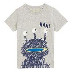 Boys' grey 'Rah' alien print t-shirt