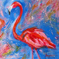 Flamingo, oil on canvas original painting #art, #painting, #flamingo