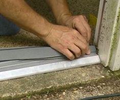 Inserting rubber seal into new entry door threshold. Shed Doors, Entry Doors, Door Threshold Seal, Diy Exterior Door Threshold, Painted Doors, Wooden Doors, Exterior Door Trim, Diy Screen Door, Diy Home Repair