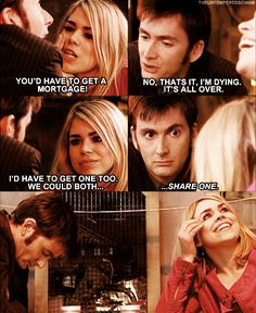 "They were so adorably awkward during this scene. I just watched this episode today, and it was...Ahhh (: And then the doctor, as he was falling into the pit ""Tell rose...No, she already knows."""