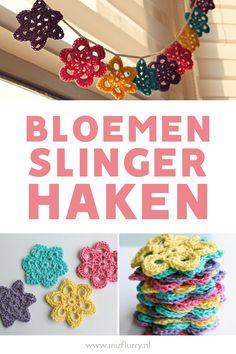 Heb je zin om wat vrolijks te haken? Deze vier gratis bloemen haakpatronen kun je gebruiken om een vrolijk slinger te maken of je kunt ze los gebruiken als onderzetters. Gratis, makkelijk en Nederlands patroon.