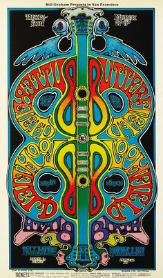 The Paul Butterfield Blues Band and Mike Bloomfield at the Fillmore West - concert poster, March 1969. Artwork by Greg Irons.