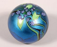 """Orient and Flume Blue Floral Paper Weight Marked """"89 N 1980"""""""