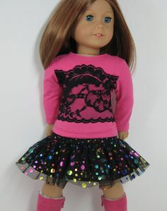 18 Inch Doll Clothes American Girl Lace And Metallic Dots Outfit