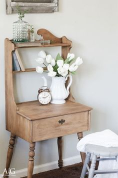 Farmhouse Style Desk and Stool | Thrifty Under $50 Blog Hop - anderson + grant