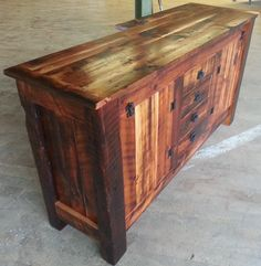 Barn board buffet Barn Boards, Spalted Maple, Old Antiques, Hope Chest, Barn Wood, Buffet, It Is Finished, Storage, Furniture