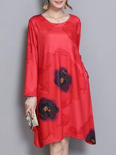 b6140b31f37912 Women Printed Long Sleeve DressWomen Printed Long Sleeve Dress Plus Size  Casual