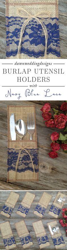 Burlap Utensil Holder, Silverware Holder, NAVY/DARK BLUE Lace, Burlap Bow - Rustic Country Home Decor, Wedding, Farmhouse Decor, Shabby Chic