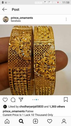Gold Bangles Design, Gold Jewellery Design, Gold Jewelry, Designer Bangles, Jewelery, Bridal Jewelry, Bangle Set, Bangle Bracelets, Light Weight Gold Jewellery