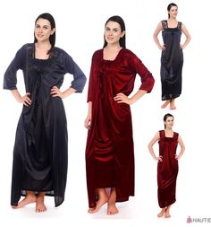 1ae4a09143 EXCLUSIVE DESIGNER 2 PC WOMENS LONG NIGHTIE LADIES NIGHTWEAR CHEMISE ROBE  8-16