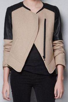 Romwe Panel Faux Leather Zippered Cream-black Coat