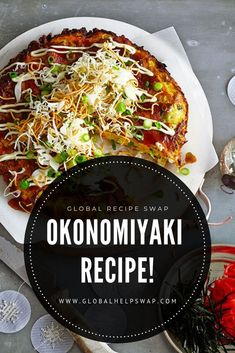 This week on global recipe swap we have a Okonomiyaki Recipe Japanese Pancakes a favourite dish of ours when we were travelling in Japan. Japanese Food Sushi, Japanese Pancake, Japanese Dishes, Veggie Recipes, Asian Recipes, Vegetarian Recipes, Ethnic Recipes, Gastronomia, Japan