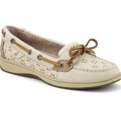 SPERRY TOP-SIDER WOMEN'S FLORAL PERF ANGELFISH, OAT PERF LEATHER. Worn once, great condition. Sperry Top-Sider Shoes Sneakers