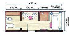 images like Imagen de mujercountry. Master Bathroom Layout, Narrow Bathroom, Master Bathroom Plans, Architectural Floor Plans, Bathroom Floor Plans, Small Space Interior Design, Bathroom Toilets, Bathroom Inspiration, Design Case