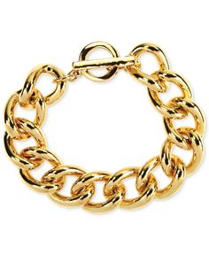 Anne Klein Gold-Tone Link Toggle Bracelet
