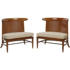 Pair Tomlinson Sophisticates Cane Back Slipper Chairs | See more antique and modern Club Chairs at https://www.1stdibs.com/furniture/seating/club-chairs