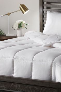 Malouf Down Alternative Comforter offers luxurious hypoallergenic softness with its down alternative microfiber and light-weight double-brushed microfiber shell in bright white. The Malouf is also machine washable. Sleep Better, Linens, Denver, Mattress, Comforters, Alternative, Shell, Bright, Blanket