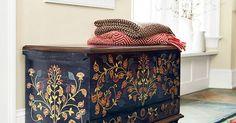 hand painted folk art trunk