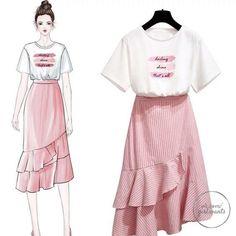 Classy Outfit Ideas Moda To Beat The Summer Heat Cute Fashion, Look Fashion, Girl Fashion, Fashion Dresses, Fashion Photo, Street Fashion, Fashion Design Drawings, Fashion Sketches, Korea Fashion