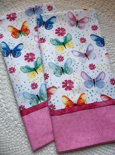 pillowcases COTTON bedding PAIR standard/queen Butterflies Butterfly multi color #Handmade #Novelty