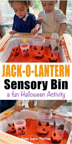 halloween activities Jack-o-Lantern Sensory Bin for Toddlers - HAPPY TODDLER PLAYTIME Create a jack-o-lantern in this super fun scoop and pour coloured rice sensory bin. Its a great not-so-scary Halloween activity for toddlers and preschoolers. Halloween Activities For Toddlers, Toddler Learning Activities, Halloween Crafts For Kids, Autumn Activities For Babies, Fall Crafts, Toddler Halloween Games, Sensory Activities For Toddlers, Nursery Activities, Thanksgiving Crafts