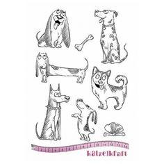 Katzelkraft Unmounted Rubber Stamp Set - Les Chiens - KTZ161