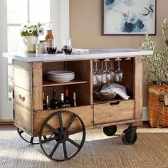 Organize your home bar with bar furniture from Pottery Barn. Find home bar furniture in a wide range of styles and finishes that hold and display entertaining essentials. Mini Bars, Bar Furniture, Industrial Furniture, Vintage Industrial, Furniture Plans, Furniture Design, Gold Bar Cart, Bar Cart Decor, Into The Woods