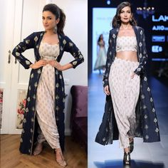 Parineeti Chopra in Payal Singal's Navy Blue Feather Motifs Jacket, Bustier and Pants Set. Indian Dress Up, Indian Attire, Indian Wear, Indian Outfits, Indian Fashion Trends, Indian Designer Outfits, Designer Dresses, Kurta Designs, Blouse Designs