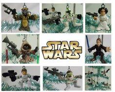 Unique Set of 13 Random Star Wars Chracters Christmas Tree Ornaments Featuring 10 Different Random Star Wars Figures and 3 Star Wars Light Saber Ornaments | Geektoypia
