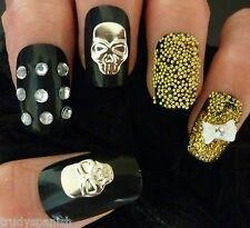 Halloween Nail Art Silver Metal Skulls Skull Nail Art Craft 10 Pieces New Skull Nail Art, Bow Nail Art, Skull Nails, 3d Nails, Cute Nails, Metal Skull, Halloween Nail Art, Nail Art Stickers, Gel Polish