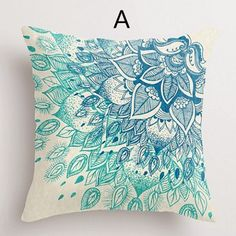 Purple flower decorative pillows for couch hand painted style cushions