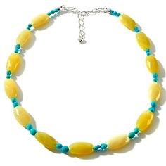 """Jay King Lemon Serpentine and Sleeping Beauty Turquoise Sterling Silver 18"""" Necklace at HSN.com."""