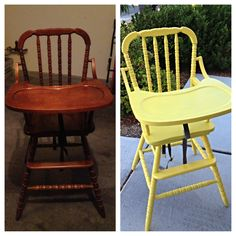 High chair redo! Take an old vintage wood high chair, sand it down completely to get off all grunge, prime with a white primer, pick your paint. I used two cans of spray white primer. My yellow paint I took several days to do all the coats ( not by choice, just schedule). Viola!