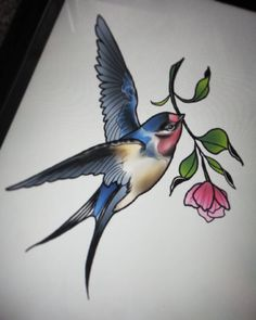 Swallow Tattoo Design, Skull Tattoo Design, Flower Tattoo Designs, Traditional Tattoo Reference, Neo Traditional Tattoo, Mom Tattoos, Body Art Tattoos, Pencil Drawings Of Animals, Sparrow Tattoo