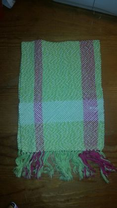 Light green, bright pink mechanized cotton warp with green-yellow-white yarn and white weft