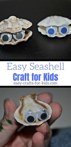 This seashell craft for kids is super easy to put together and makes an adorable summer decoration. Great use of seashells you pick at the beach! Seashell Crafts Kids, Beach Crafts For Kids, Under The Sea Crafts, Craft Kids, Paper Crafts For Kids, Crafts For Girls, Easy Crafts, Diy Projects With Popsicle Sticks, Sea Creatures Crafts