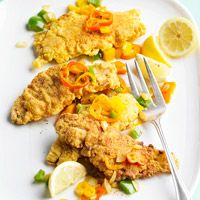 Crispy Fish and Peppers  This fish dish is so simple to make. A basic frying method ensures crispy, golden fish every time. Buttermilk helps the Cajun-seasoned breading stick to the fish.