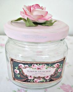 Shabby chic jar with floral topping