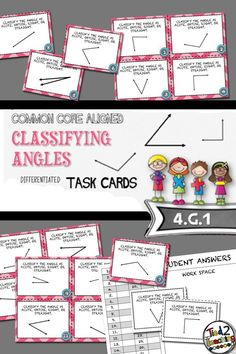 Classifying Angles Task Cards comes with 24 simple, Common Core Aligned Task Cards for the middle grades! Each task card presents students with one angle and asks them to correctly classify it as acute, obtuse, right, or straight. Great for math centers, small group instruction, remediation, extensions, class review, test prep, or a fun round of SCOOT, these task cards will be the perfect addition to your Geometry unit.
