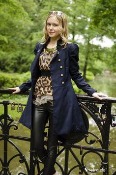 Gossip Girl Double Button Blue Twill Coat - Sheinside.com